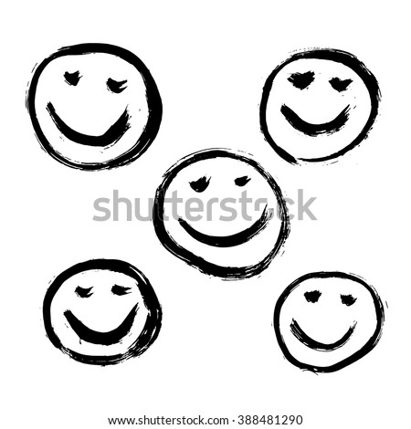 Set of 9 grunge black abstract textured vector smileys. Vector design grunge elements. Vector abstract smileys face paintbrush. Vintage vector shapes. Retro vector smileys. - stock vector