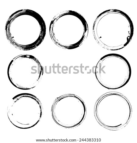 Set of Grunge Black and White Frames . Distress Border Frame Collection . Circle Vector Frames for your Design . Vine Stains - stock vector