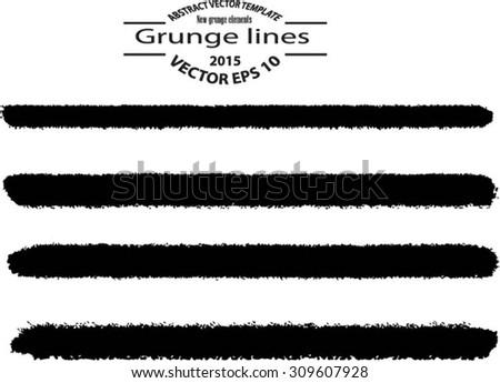 Set of grunge brush strokes - stock vector