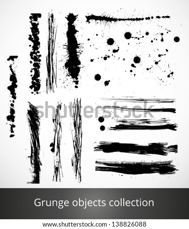 Set of grunge brushes and splashes. Vector illustration - stock vector