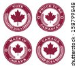 Set of grunge Canada maple leaf rubber stamp icons - stock vector