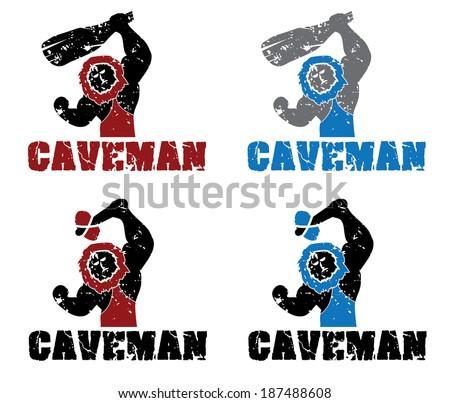 Set of grunge caveman - stock vector