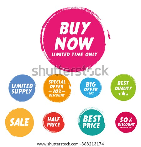 Set of Grunge circle. Special Offer, Big Offer. Buy Now. Half Price - stock vector