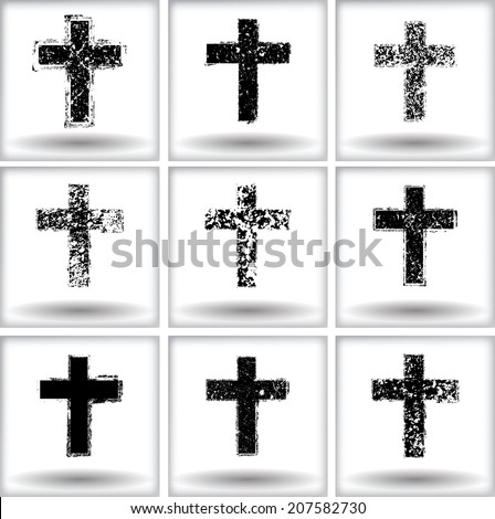 Set of grunge crosses
