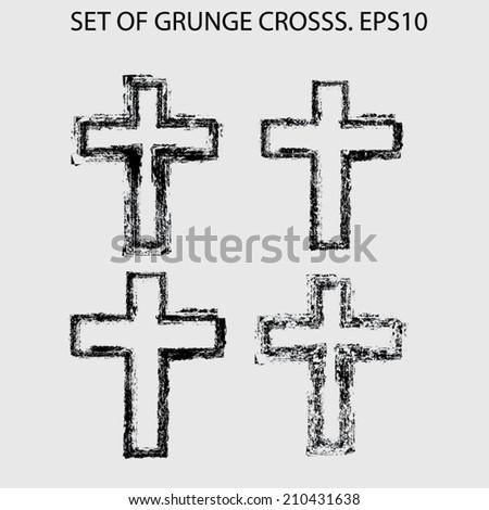 Set of grunge crosses - stock vector