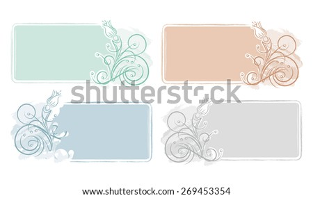 Set of 4 grunge decorative frames with flowers for visit card or other design. - stock vector