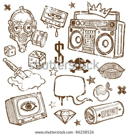 Set of Grunge Design Elements - stock vector