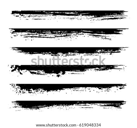 Set of grunge edges,borders.Vector grunge paint stripes.