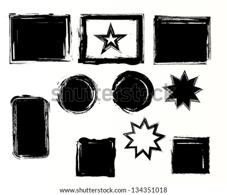 Set of grunge elements. Vector illustration. - stock vector