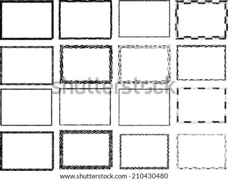 Set of grunge frames. Vector illustration.  - stock vector