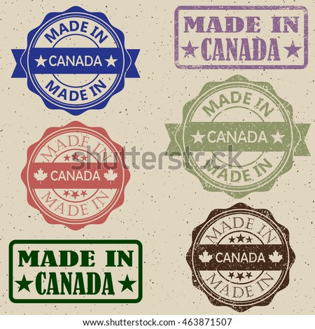 Set of grunge maple leaf rubber stamp icons.Made in Canada stamp vector illustration set