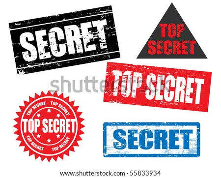 Set of grunge office rubber stamps with word secret; top secret. - stock vector