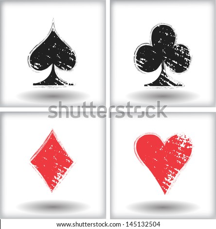 Set of grunge playing cards symbol - stock vector