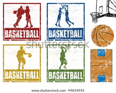 Set of grunge rubber stamp with basketball players, vector illustration - stock vector