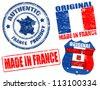 Set of grunge rubber stamp with the text made in France written inside, vector illustration - stock photo