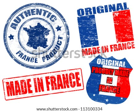Set of grunge rubber stamp with the text made in France written inside, vector illustration - stock vector