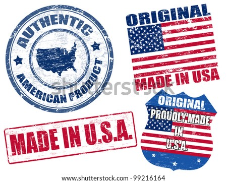 Set of grunge rubber stamp with the text made in USA written inside, vector illustration - stock vector