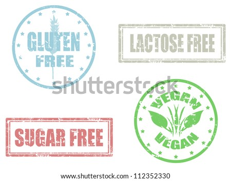 Set of grunge rubber stamps vectors of allergy products,gluten,sugar and lactose free - stock vector