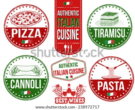 Set of grunge rubber stamps with authentic italian food, vector illustration