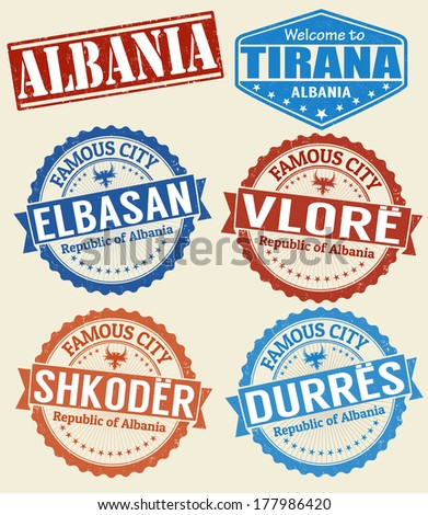 Set of grunge rubber stamps with names of Albania cities, vector illustration