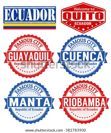 Set of grunge rubber stamps with names of Ecuador cities, vector illustration - stock vector