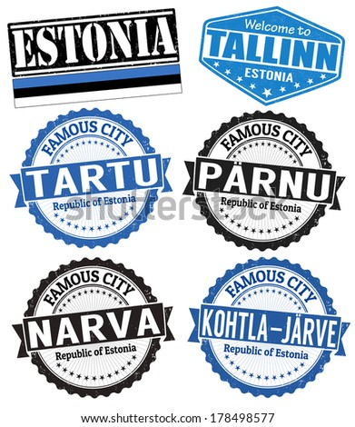 Set of grunge rubber stamps with names of Estonia cities, vector illustration