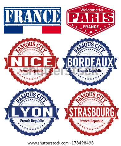 Set of grunge rubber stamps with names of France cities, vector illustration