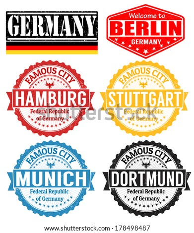 Set of grunge rubber stamps with names of Germany cities, vector illustration