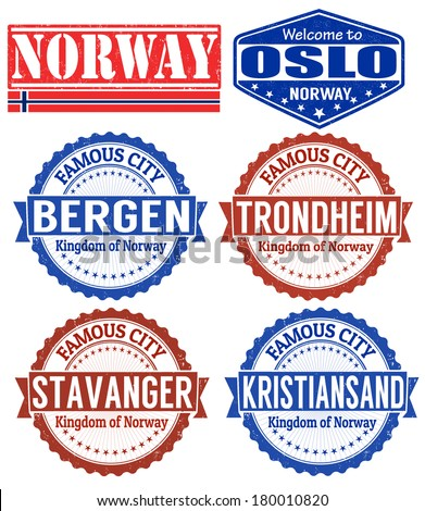 Set of grunge rubber stamps with names of Norway cities, vector illustration