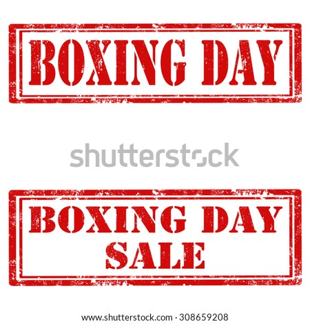 Set of grunge rubber stamps with text Boxing Day,vector illustration - stock vector