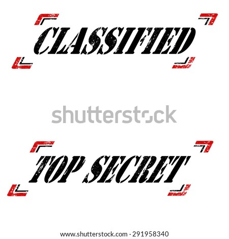 Set of grunge rubber stamps with text Classified and Top Secret,vector illustration - stock vector