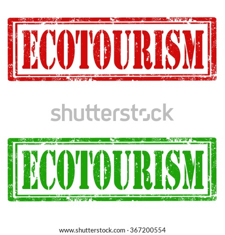 Set of grunge rubber stamps with text Ecotourism,vector illustration - stock vector