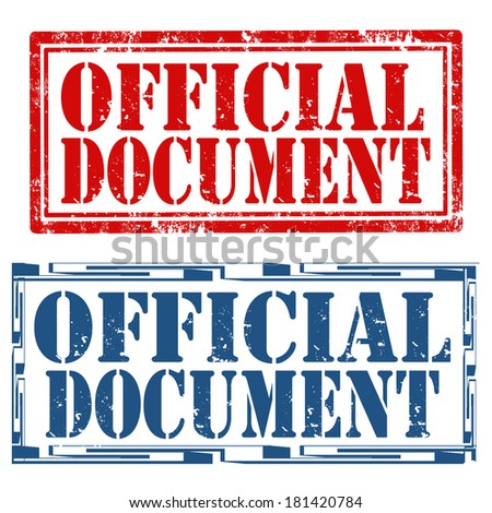 Set of grunge rubber stamps with text Official Document,vector illustration - stock vector