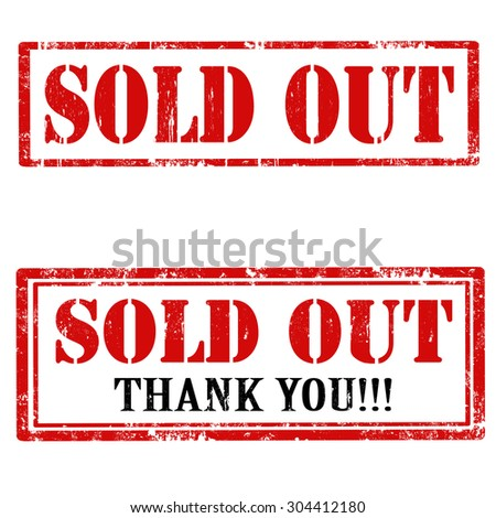 Set of grunge rubber stamps with text Sold Out,vector illustration - stock vector