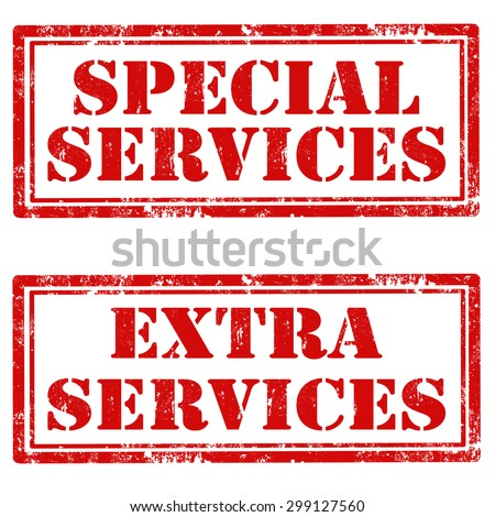 Set of grunge rubber stamps with text Special Services and Extra Services,vector illustration - stock vector