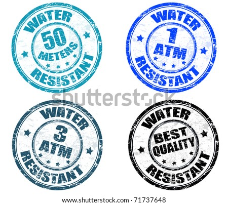 Set of grunge rubber stamps with the text water resistant written inside the stamp - stock vector