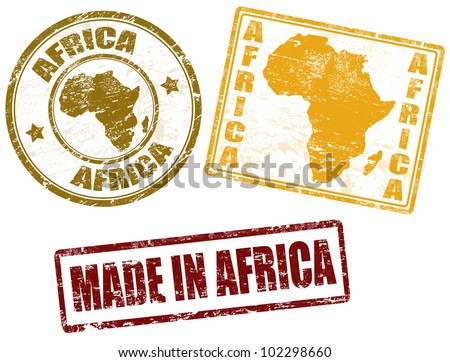 Set of grunge rubber stamps with the word Africa written inside, vector illustration - stock vector
