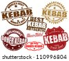 Set of grunge rubber stamps with the word kebab written inside, vector illustration - stock vector