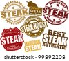 Set of grunge rubber stamps  with  the word steak written inside, vector illustration - stock vector
