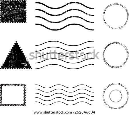 Set of Grunge Rubber Texture Stamp -  Distressed Stamp Texture - Post Stamp Collection - Postmarks - Vector Illustration . - stock vector