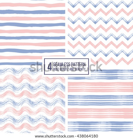 Set of grunge seamless pattern of stripes, waves, zigzag chevron in color 2016 rose quartz and serenity, texture lilac and pink lines, wavy and zig zag stripes, hand drawn vector pattern - stock vector