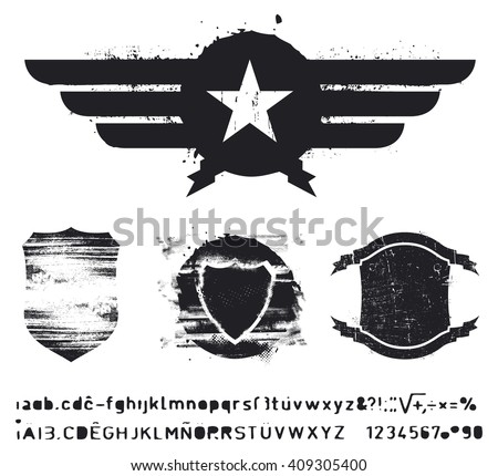set of grunge shields - stock vector