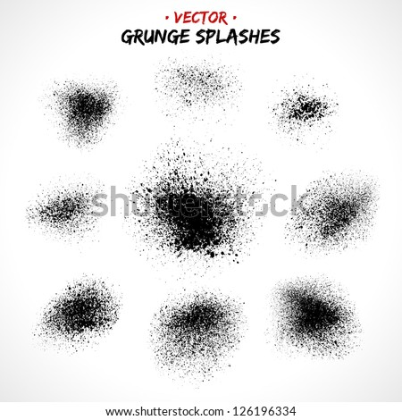 Set of grunge splashes. Grunge brushes. Retro background. Vintage background. Design elements. Grunge texture. Hand drawn. Texture background. Abstract shape - stock vector