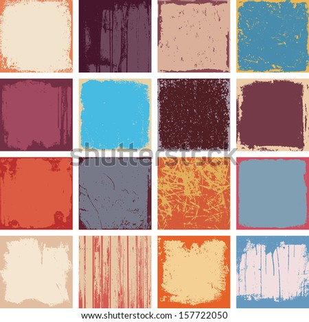 Set Of Grunge Square Background Textures Vector - stock vector