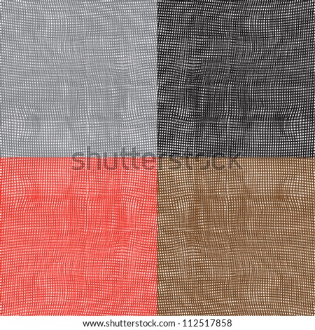 Set of grunge striped and checkered wavy textures. Vector design - stock vector