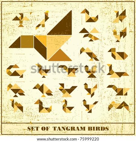 Set of grunge tangram birds - vector elements for design - stock vector