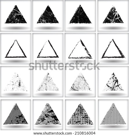 Set of grunge triangle shapes. Vector illustration.  - stock vector