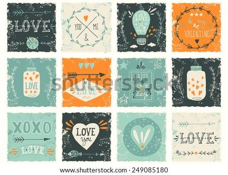 Set of grunge Valentine's day or wedding design elements - stock vector