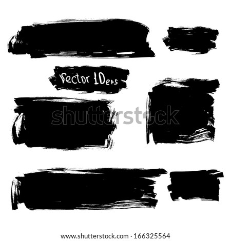 Set of grunge vector and ink strokes (individual objects). Abstract watercolor design elements for your projects. Vector illustration. EPS 10 - stock vector