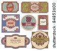 set of grunge vintage labels - stock vector